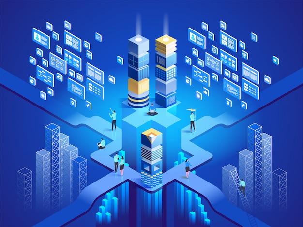Koncepcja izometryczny technologii. oprogramowanie, tworzenie stron internetowych, programowanie. ilustracja