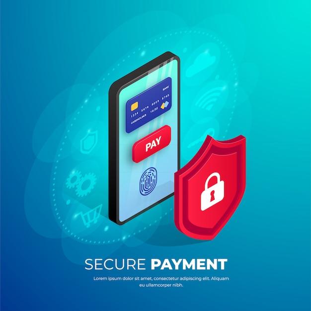 Koncepcja izometryczny transparent bezpiecznych płatności mobilnych. 3d smartfon z kartą kredytową, odcisk palca, przycisk na ekranie, ikony wokół tarczy. bezpieczeństwo zakupów online, ilustracja bezpieczeństwa portfela elektronicznego
