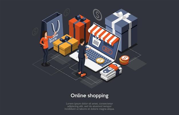 Koncepcja izometryczny zakupy online. klienci zamawiają i kupują towary na ekranie laptopa. zakup prezentów online, aplikacja w sklepie z upominkami, koncepcja zakupu telefonu komórkowego