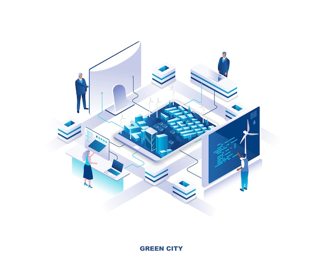 Koncepcja izometryczny zielone miasto