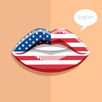 Koncepcja języka angielskiego amerykańskiego. glamour usta z makijażem flagi brytyjskiej, twarz kobiety. płaska konstrukcja ilustracji.