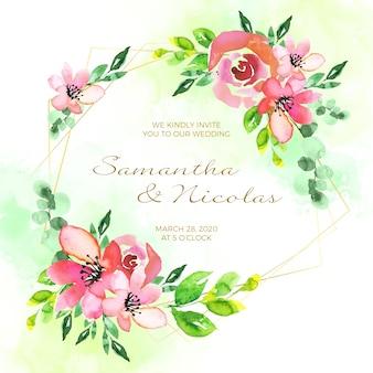 Koncepcja karta kwiatowy zaproszenie ślubne ramki