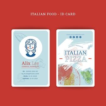 Koncepcja karty identyfikacyjnej kuchni włoskiej