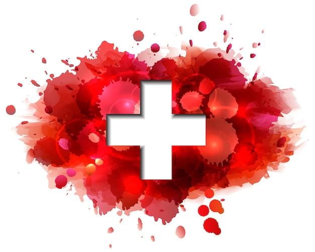 Koncepcja karty narodowej szwajcarskiego dnia. flaga szwajcarii na tle plamy czerwonej farby. ilustracja wektorowa