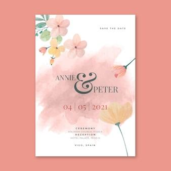 Koncepcja karty ślubu kwiatowy