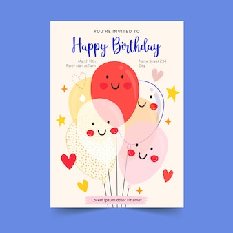 Koncepcja karty zaproszenie na urodziny