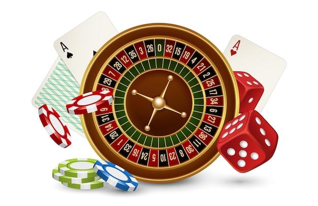 Koncepcja kasyna. kasyno ruletka, żetony, kości i karty na białym tle. hazard w kasynie illustraton, gra w ruletkę
