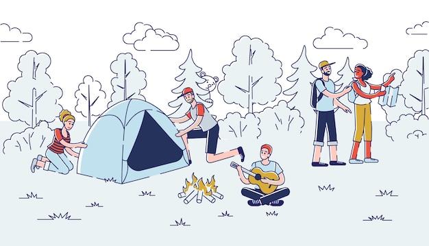 Koncepcja kempingu. ludzie spędzają miło czas na świeżym powietrzu.