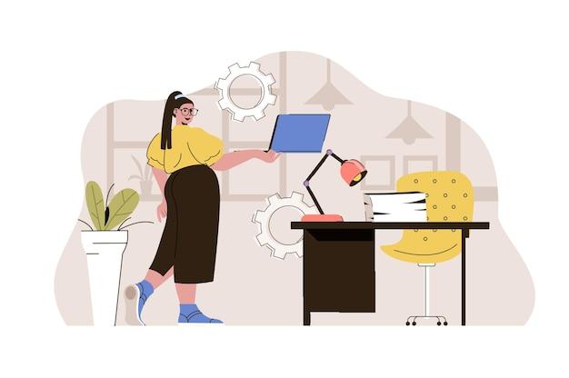 Koncepcja kierownika biura kobieta pracująca na laptopie utrzymuje warunki pracy