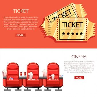Koncepcja kina. audytorium i trzy czerwone wygodne fotele w kinie. napoje i popcorn, okulary do filmu. kreskówka złote bilety do kina. ilustracja na białym i czerwonym tle