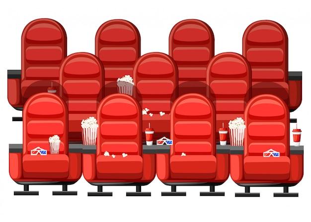 Koncepcja kina. audytorium i trzy rzędy czerwonych wygodnych foteli w kinie. napoje i popcorn, okulary do filmu. ilustracja na białym tle. strona internetowa i aplikacja mobilna
