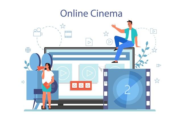 Koncepcja kina domowego online. platforma do strumieniowego przesyłania wideo. treści cyfrowe w internecie. ilustracja na białym tle wektor