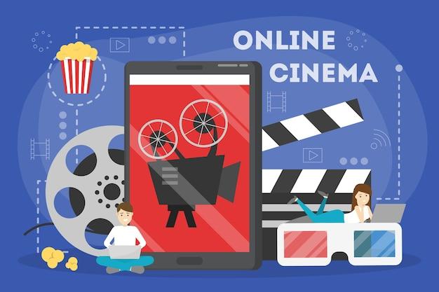 Koncepcja kina online. rozrywka w domu z popcornem