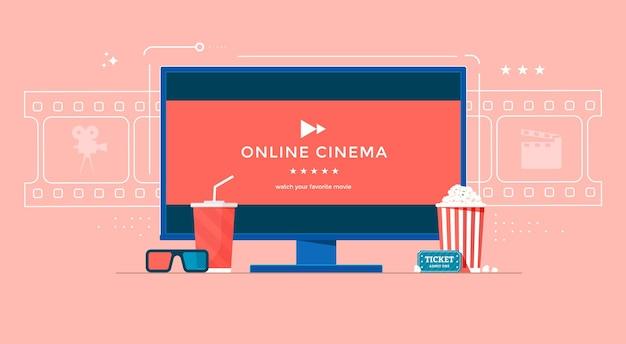 Koncepcja kina online z tv, popcornem i okularami 3d.