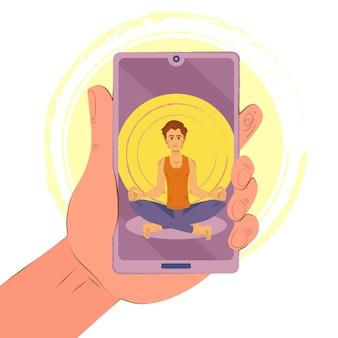 Koncepcja klasy jogi online ze smartfonem