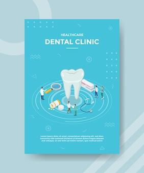 Koncepcja kliniki dentystycznej dla szablonu banera i ulotki z wektorem w stylu izometrycznym