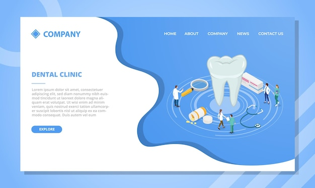 Koncepcja kliniki dentystycznej dla szablonu strony internetowej lub strony docelowej z wektorem w stylu izometrycznym