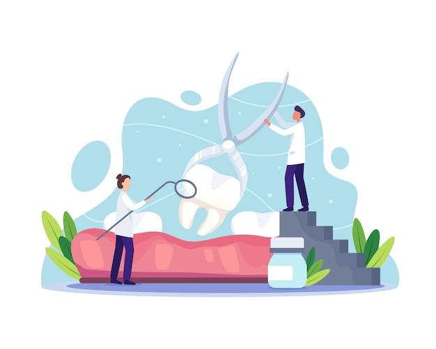 Koncepcja kliniki opieki stomatologicznej. lekarz dentysta w mundurze usuwający ludzki ząb za pomocą sprzętu medycznego. zdrowie jamy ustnej i higiena stomatologiczna. ilustracja wektorowa w stylu płaskiej