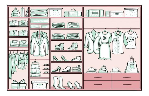 Koncepcja kobiecej garderoby kolorowe doodle