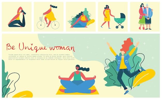 Koncepcja kobiety unikalne tło wektor ilustracja karta z szczęśliwą kobietą i rysunkiem dłoni...