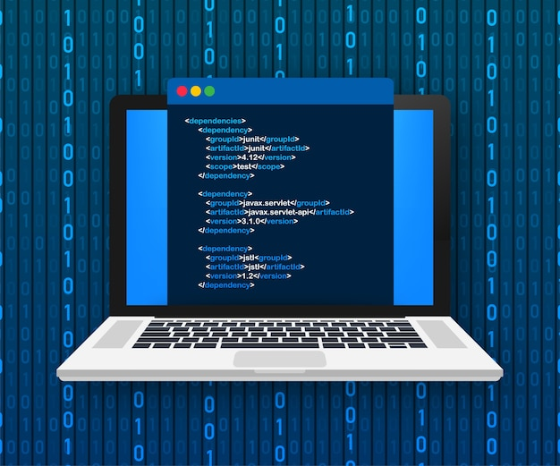 Koncepcja kodowania laptopa. programista www, programowanie. kod ekranu laptopa. ilustracja.