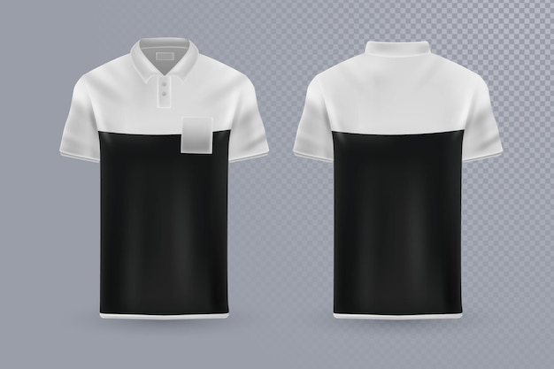 Koncepcja kolekcji koszulek polo z przodu iz tyłu
