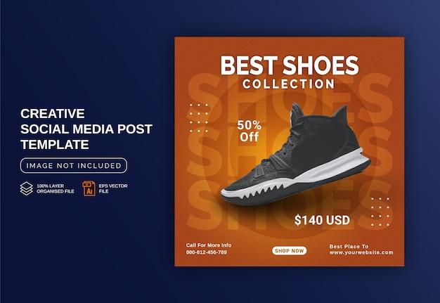 Koncepcja kolekcji najlepszych butów reklama banerowa na instagram szablon postu w mediach społecznościowych