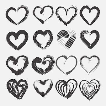 Koncepcja kolekcji ręcznie rysowane serca