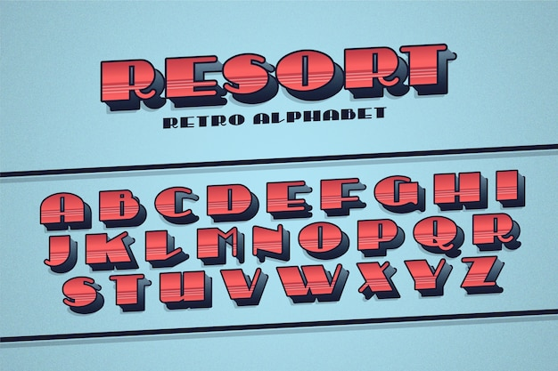 Koncepcja kolekcji retro alfabet 3d