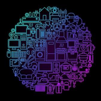 Koncepcja koło linii urządzeń gospodarstwa domowego. ilustracja wektorowa obiektów na czarno.