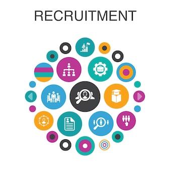 Koncepcja koło plansza rekrutacji. elementy smart ui kariera, zatrudnienie, stanowisko, doświadczenie