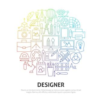 Koncepcja koło projektanta. ilustracja wektorowa szablonu konspektu.