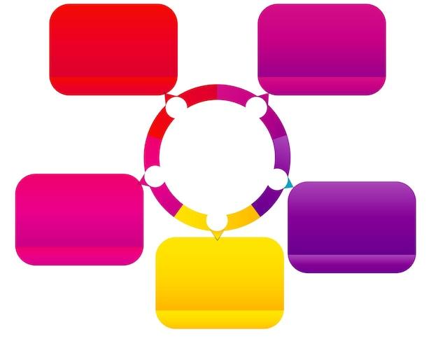 Koncepcja kolorowe okrągłe banery ze strzałkami dla różnych projektów biznesowych. ilustracja wektorowa