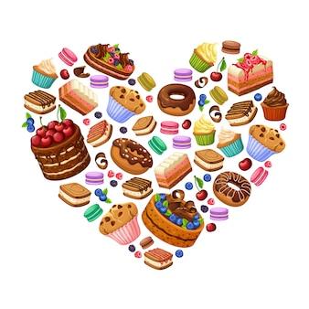 Koncepcja kolorowe słodkie produkty