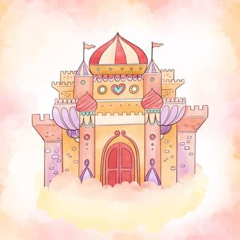 Koncepcja kolorowy bajkowy zamek