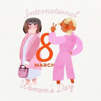 Koncepcja kolorowy dzień kobiet akwarela