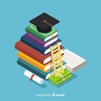 Koncepcja kolorowy edukacji z widokiem izometrycznym