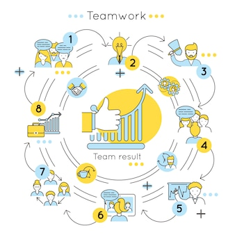 Koncepcja kolorowy linii pracy zespołowej