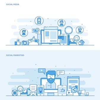 Koncepcja koloru linii płaskiej - media społecznościowe i marketing społecznościowy