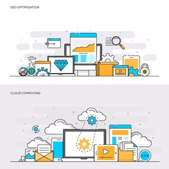 Koncepcja koloru płaskiej linii - seo i cloud computing - color
