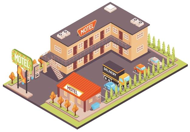 Koncepcja kolorystyczna motelu z izometrycznym parkingiem dla samochodów i obiektów
