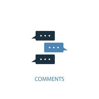 Koncepcja komentarzy 2 kolorowa ikona. prosta ilustracja niebieski element. projektowanie symbolu koncepcji komentarzy. może być używany do internetowego i mobilnego interfejsu użytkownika/ux