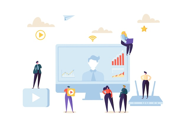 Koncepcja komunikacji online telekonferencji. ludzie biznesu na seminarium internetowym z wideokonferencji. postacie na spotkaniu w celu analizy danych.