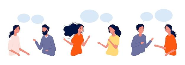 Koncepcja komunikacji. płascy ludzie rozmawiają, ilustracja dialogu. chłopcy dziewczęta aktywnie się komunikują, ludzie prowadzą rozmowy. komunikat komunikacyjny na czacie, dialog rozmówców
