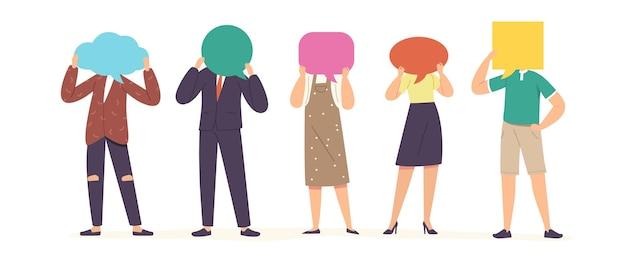 Koncepcja komunikacji. postacie z twarzami dymki na białym tle. młodzi mężczyźni i kobiety rozmawiają, komunikują się, rozmawiają i podejmują decyzje. ilustracja wektorowa kreskówka ludzie