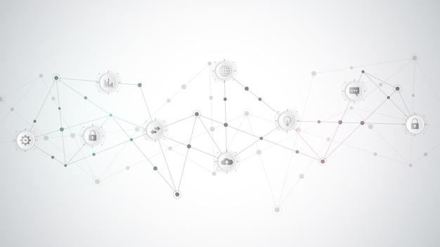 Koncepcja komunikacji z płaskimi ikonami