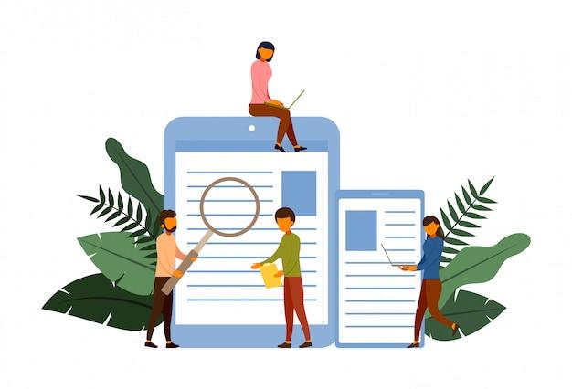 Koncepcja koncepcja ankiety online z ilustracji znaków