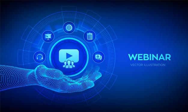 Koncepcja konferencji lub seminarium internetowego na wirtualnym ekranie.