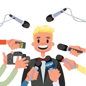 Koncepcja konferencji prasowej. dziennikarz z mikrofonem