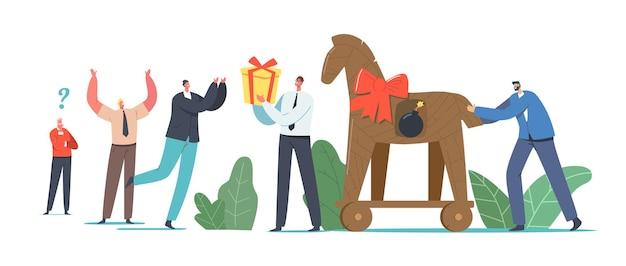 Koncepcja konia trojańskiego, charakter człowieka biznesu dając prezent w kształcie konia z płonącą bombą wewnątrz kolegom lub konkurentom. szpiegostwo korporacyjne, podłość. ilustracja wektorowa kreskówka ludzie